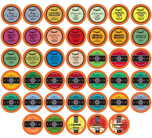 Two Rivers Assorted Tea Sampler Pack for Keurig K-Cup Brewers, 40 Count 40 Assorted Teas