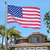 Aluminum Sectional Flagpole Kit Outdoor Halyard Pole With US American Flag 25 Ft