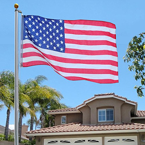 TStore Sectional Flagpole Kit Halyard Aluminum Pole 25FT Gold Ball, with 1 US Flag (3'x5') (25 Nascar Kit)