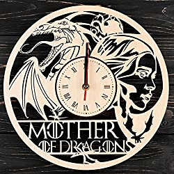 7ARTS Game of Thrones Wooden Clock – Decorative Wall Clock Made from Eco Wood with Silent Quartz Movement and Autonomous Power Source - Can be Painted, Great Gift Idea