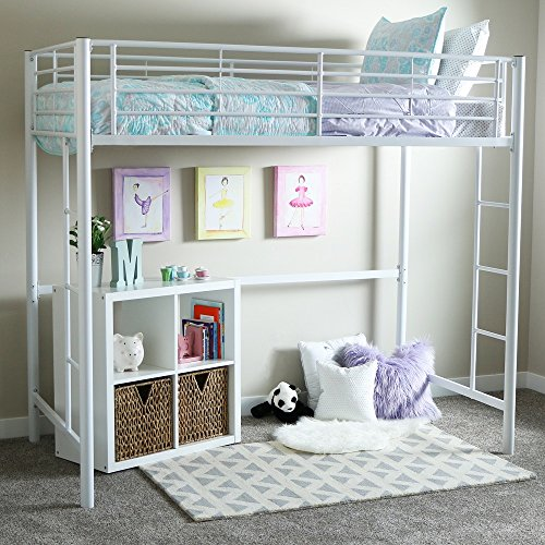 Bon New Twin Over Loft Metal Bunk Bed With Ladder, White Finish