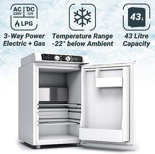 Bluefin Mini Nevera Congeladora Trivalente de absorción de 43 litros AC | DC | Nevera a Gas | 12v | 230v | LPG | Nevera Portátil Ideal para Camping, ...