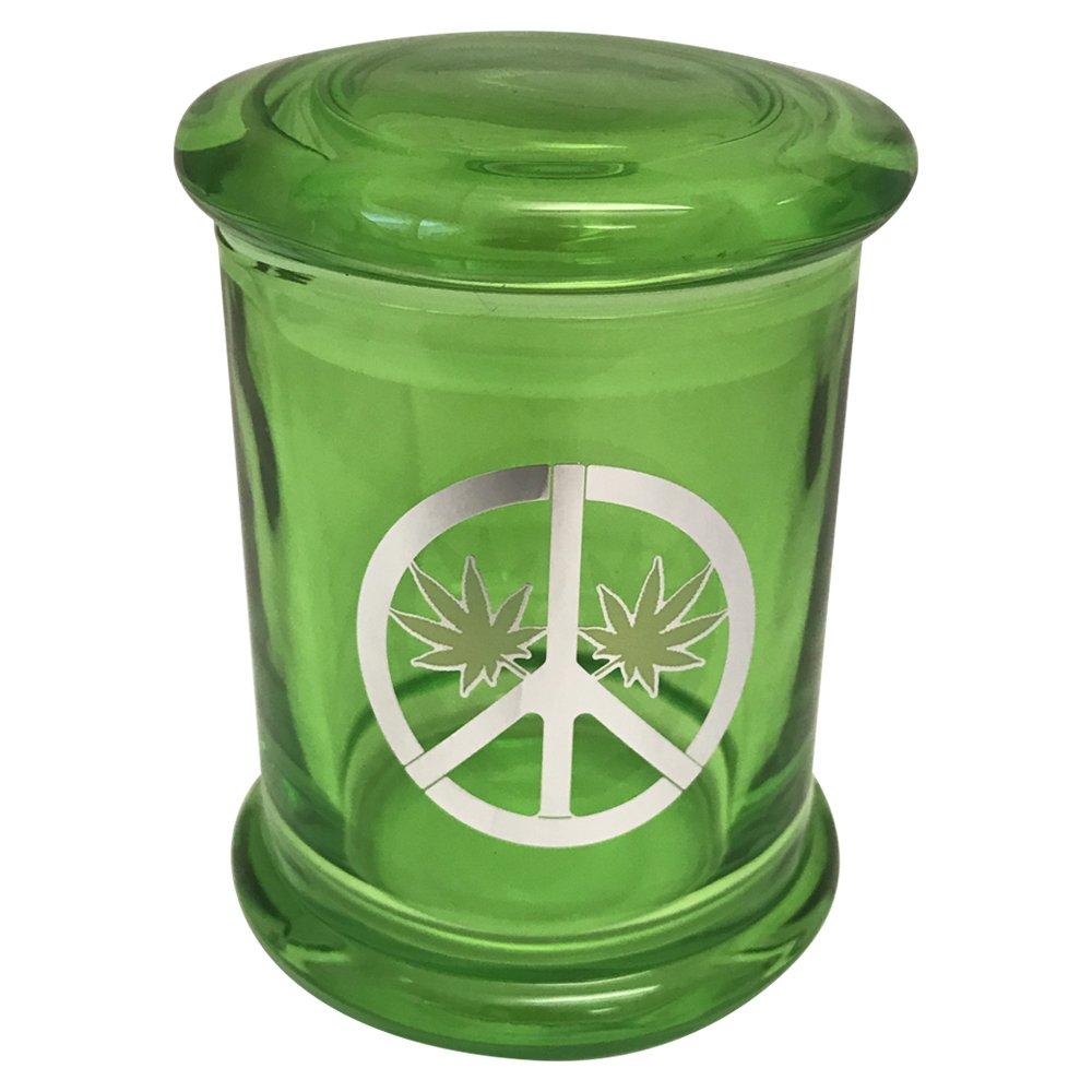Stash Jar Marijuana Pot Leaf Glass Peace Sign 420 Airtight Pop Top Smellproof Green