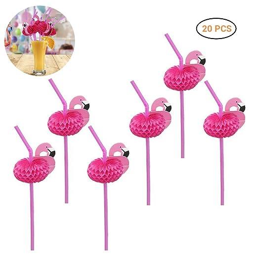 Jourbon Flamingo Straws Pajitas De Plástico Desechables, De ...