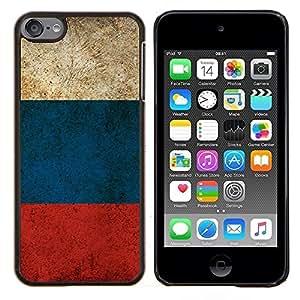 KLONGSHOP // Cubierta de piel con cierre a presión Shell trasero duro de goma Protección Caso - Bandera de Rusia - Apple iPod Touch 6 6th Touch6 //