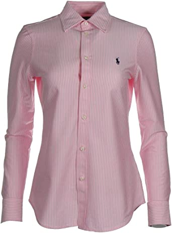 Ralph Lauren Knit Dress - Camisa, color azul marino, rosa y blanco: Amazon.es: Ropa y accesorios