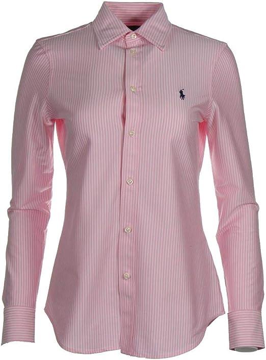 Ralph Lauren Knit Dress - Camisa, color azul marino, rosa y blanco: Amazon.es: Ropa y accesorios