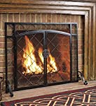 Plow & Hearth Celtic Knot Large Fireplace Screen with Hinged Doors, Powder Coated Steel Frame, Metal Mesh, Black and Natural Metal Finish, Decorative Design, Free Standing Spark Guard- 44 W x 33 H by Plow&Hearth®