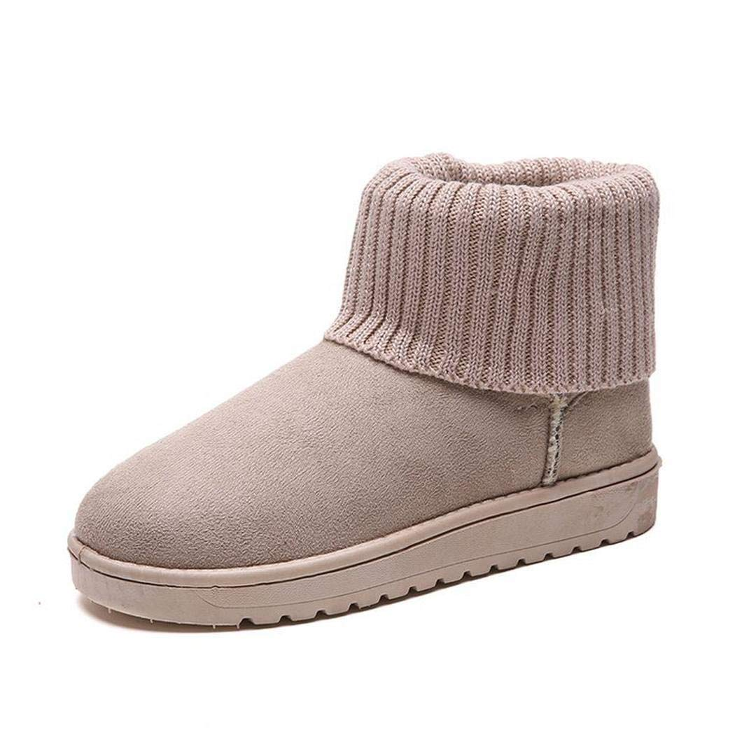 LIOPIO Women Snow Boots Casual Flat Shoes Slip-on Short Boots Thicken Winter Shoes Boots Beige