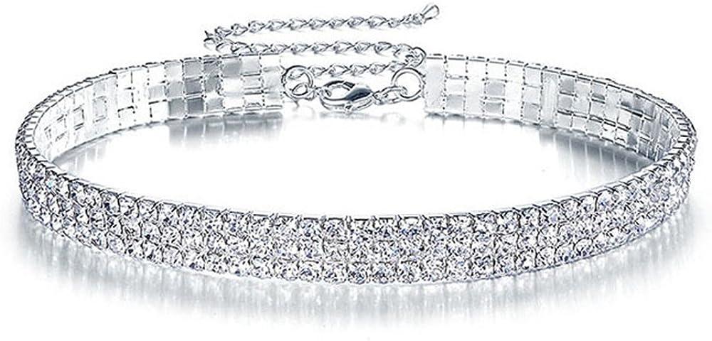 Elegant Rose 3 Row Clear Rhinestone Necklace Choker Necklace Wedding Jewelry for Women