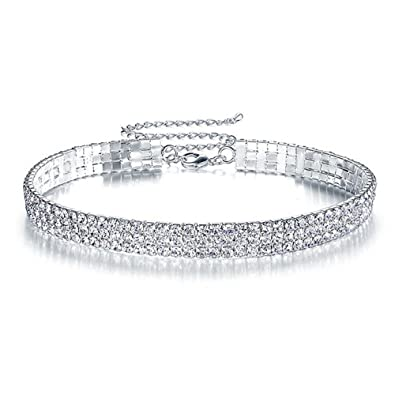 buying cheap huge sale unique design Élégant collier ras du cou, 3 rangées, collier en strass rose. Mariage,  pour femme.