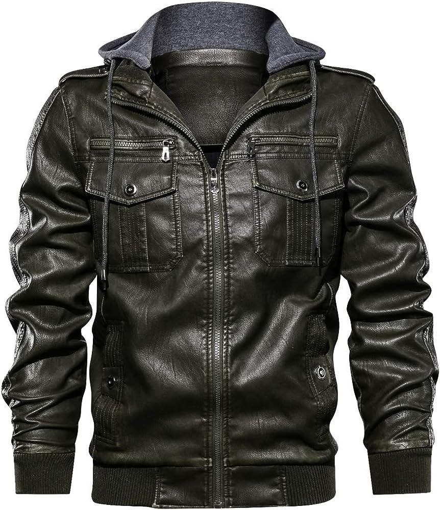 Mens Faux Leather Black Biker Coat Slim Fit Motorcyle Jacket PU Leather Jackets