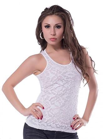neuesten Stil von 2019 neue sorten exquisites Design lau-fashion Damen Oberteil T-Shirt Weiß Tank Top mit Spitze ...