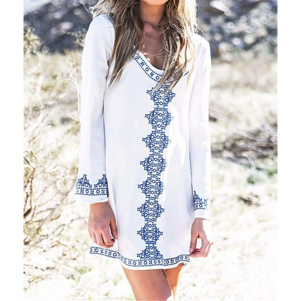 A XIAOPANGHAI Embroidery Cotton Dress Women Loose Dress ONeck Long Sleeve Vintage Summer Beach Mini Floral Dresses Plus Size Ladies