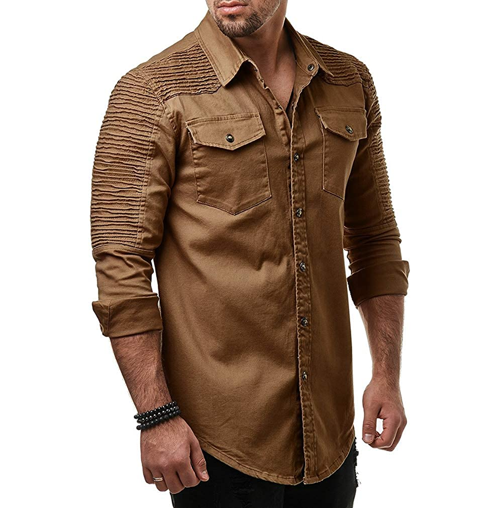 Jade Hare Mens Casual Lapel Button-up Pleated Shoulder Pockets Denim Shirt Blouse Tops Trucker Motorcycle