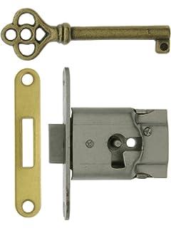 Amazon.com: Small Brass Plated Non-Mortise Cabinet Lock in Antique ...