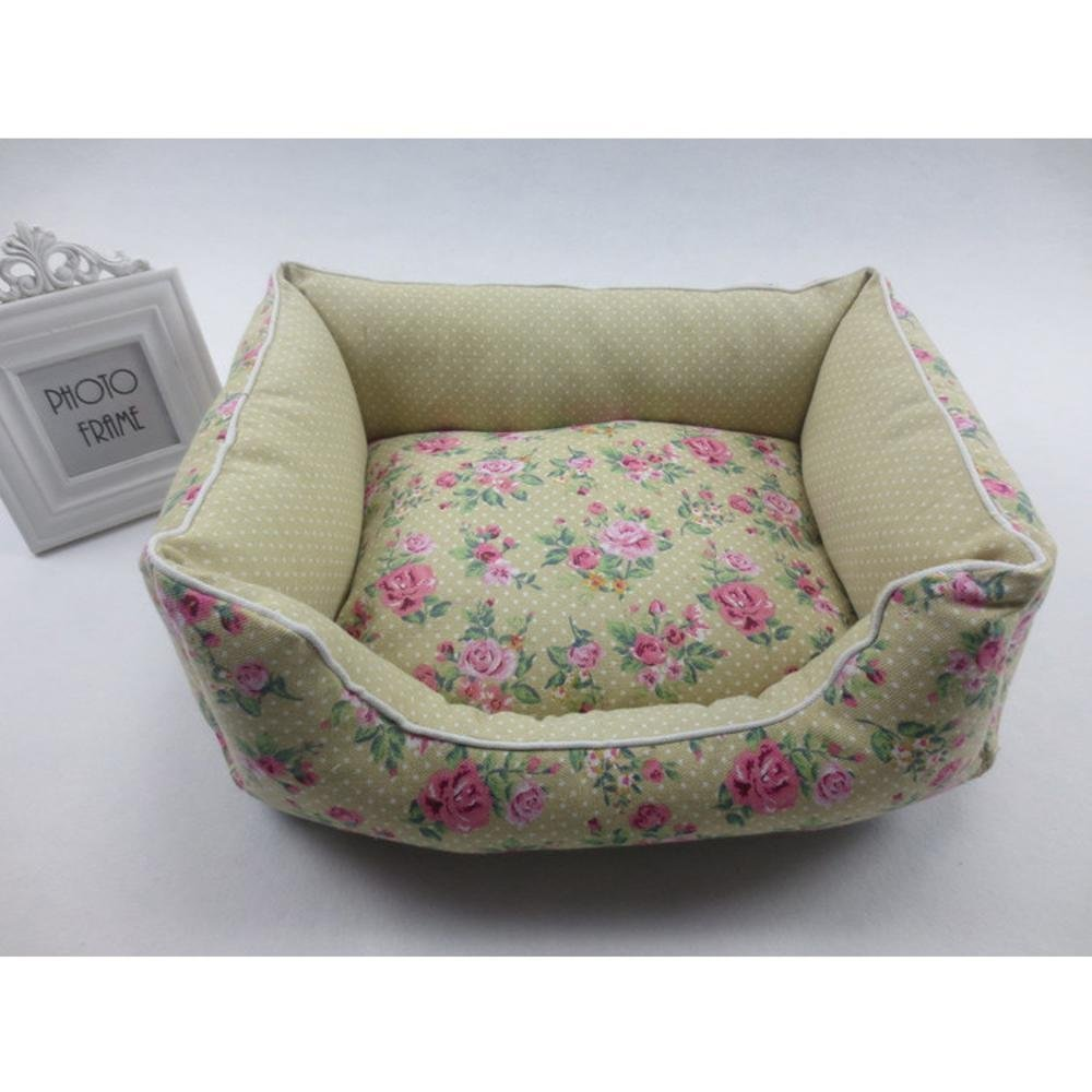 B 5040cm B 5040cm Gperw Dog bed Pet Nest Floral Canvas spring summer breathable kennel dog bed cat Litter bed Non Slip Cushion Pad (color   B, Size   50  40cm)
