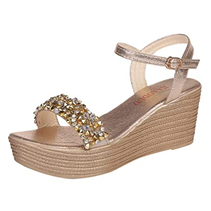 bd5d16b5da6b Women Ladies Sexy Crystal Wedges Buckle Causal Shoes Sandals (Gold, US:4.5)