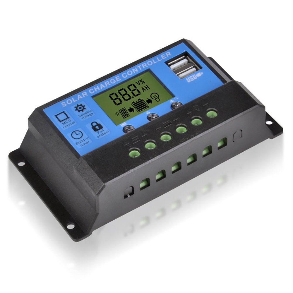 Yiwa Light-control Time-control Solar Panel Charge Regulator 12V/24V Auto Solar Controller with Display Screen 30A