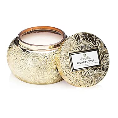 Voluspa Crane Flower Embossed Glass Chawan Bowl Candle, 14 Ounces