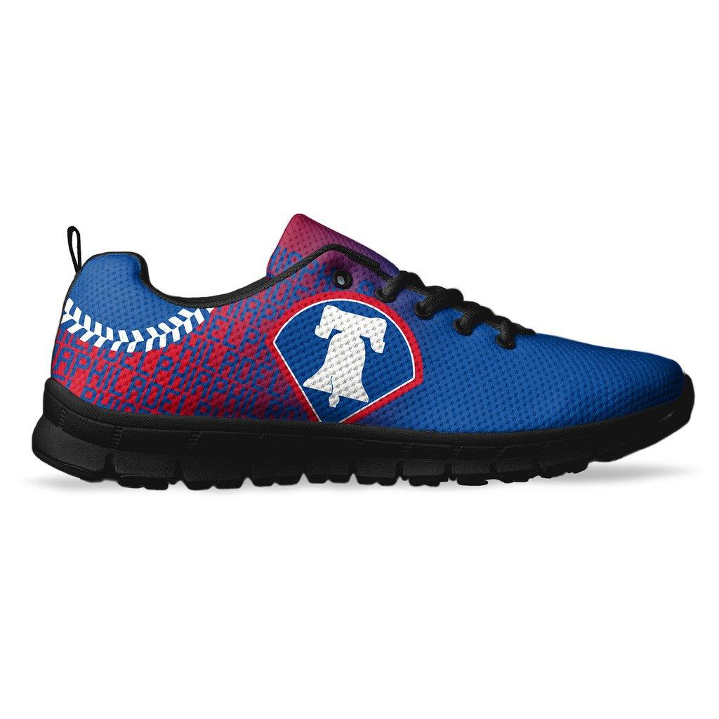 AllAmbitions Men's Philadelphia Baseball Custom Fan Made Running/Athletic Sneakers B07B88QNQR 6 D(M) US|Black