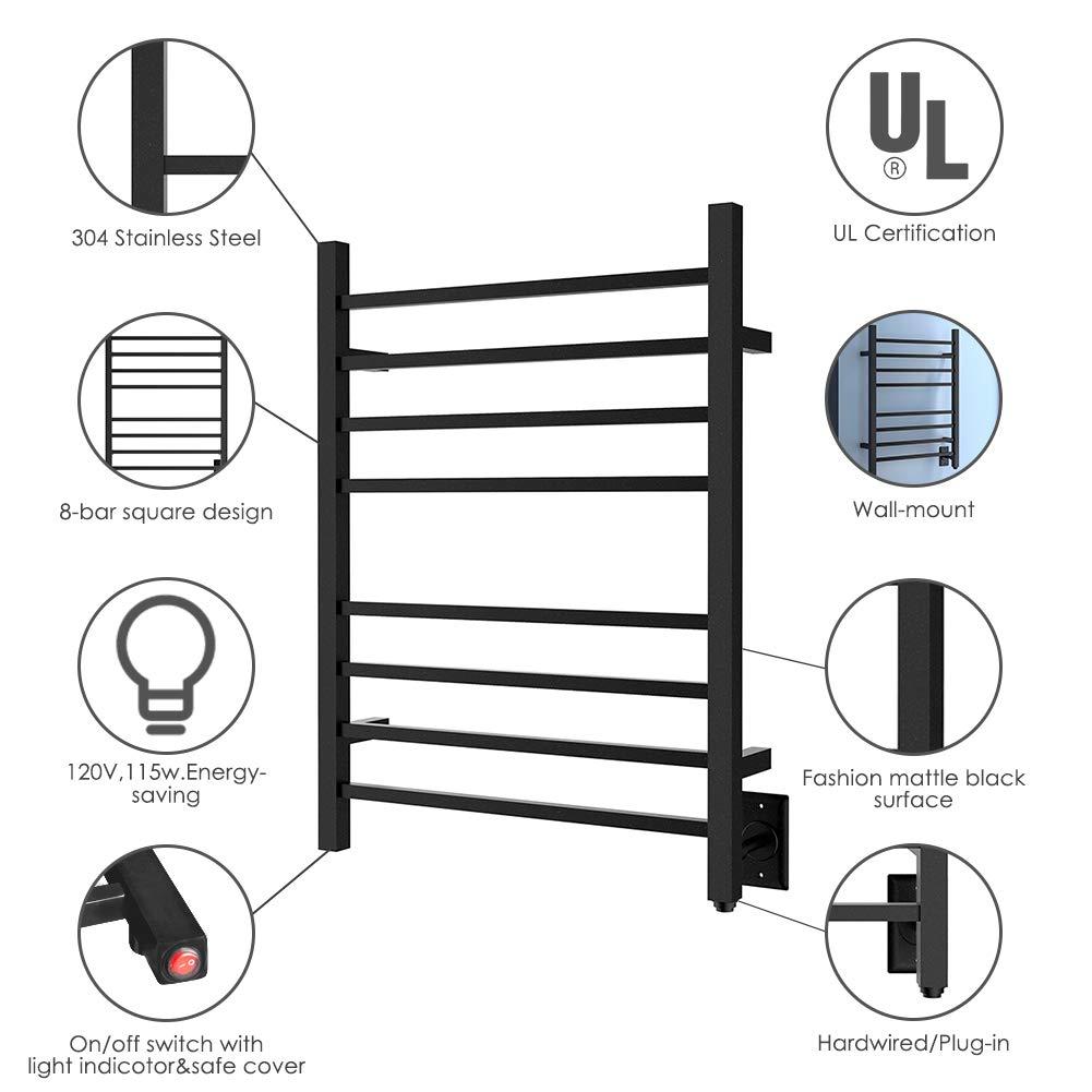 HEATGENE Hot Towel Warmer for Bath Heated Drying Rack 8 Square Bar Matte Black by HEATGENE (Image #4)