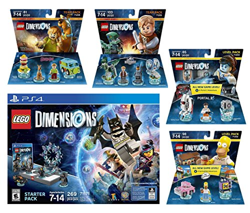 Lego Dimensions Starter Pack + The Simpsons Homer Simpson Level Pack + Portal 2 Level Pack + Scooby Doo Team Pack + Jurassic World Team Pack Playstation 4 PS4 (Portal 2 Playstation 4)