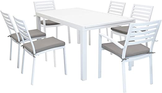 Tavolo Giardino Alluminio Allungabile.Milani Home S R L S Set Tavolo Giardino Allungabile Rettangolare