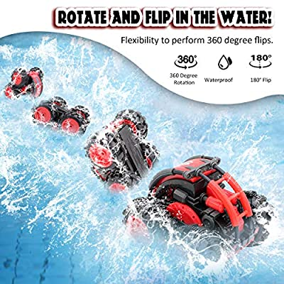 Seckton Car Toy for 6-10 Year Old Boys Amphibious Remote Control Car for Kids 4WD RC Truck Waterproof Stunt Car 2.4 GHz Remote Controlled Vehicle Off Road Water Sand Beach Christmas Birthday Gifts: Toys & Games