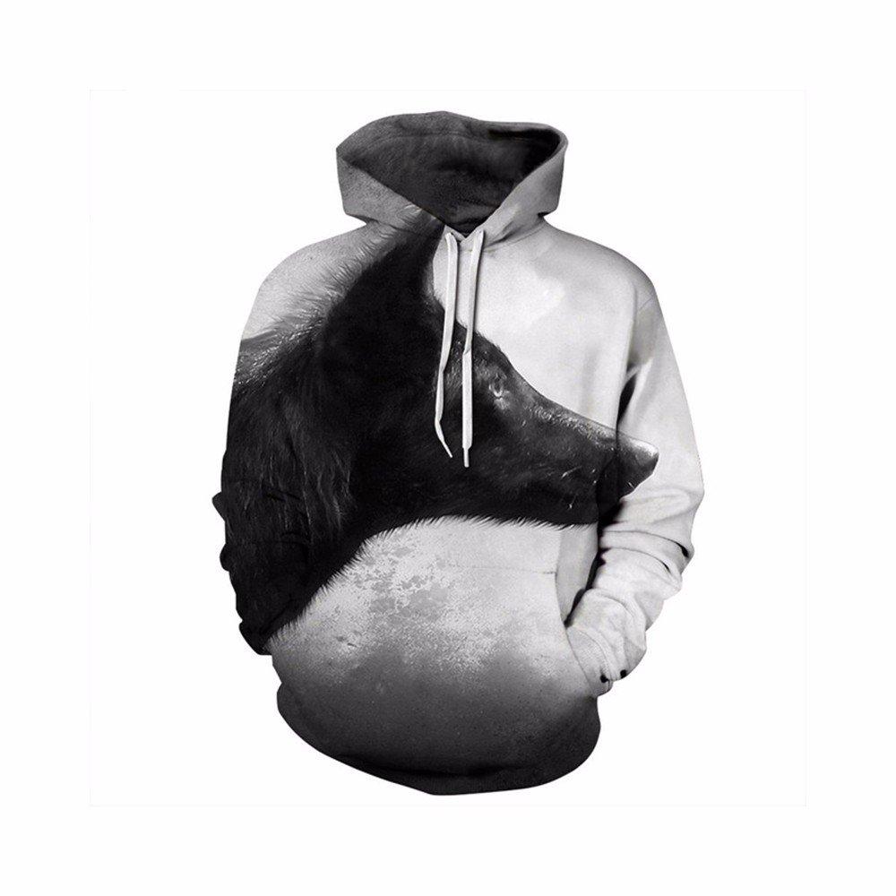 Pesonality 3D Printed Men\'s Black Wolf Printemps et Automne Pull à Capuche Sweat-Shirts Graphiques S-3XL