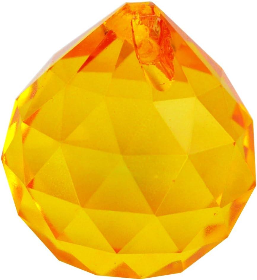 Feng Shui 30 mm amarillo de bola de cristal libre con prismas Mxsabrina color rojo de la pulsera de cuerda J2284