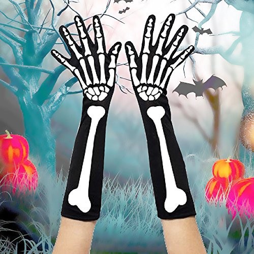 Kangkang@ 1 Pairs Female Punk Gothic White Halloween Skeleton Gloves Costume for Cosplay Fancy Dress Decoration Accessories -