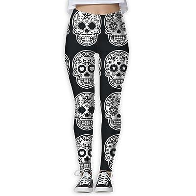 LeYue Women's Sugar Skull Icons Yoga Pants Performance Activewear Workout Leggings Sports Pants Size(S-XL)