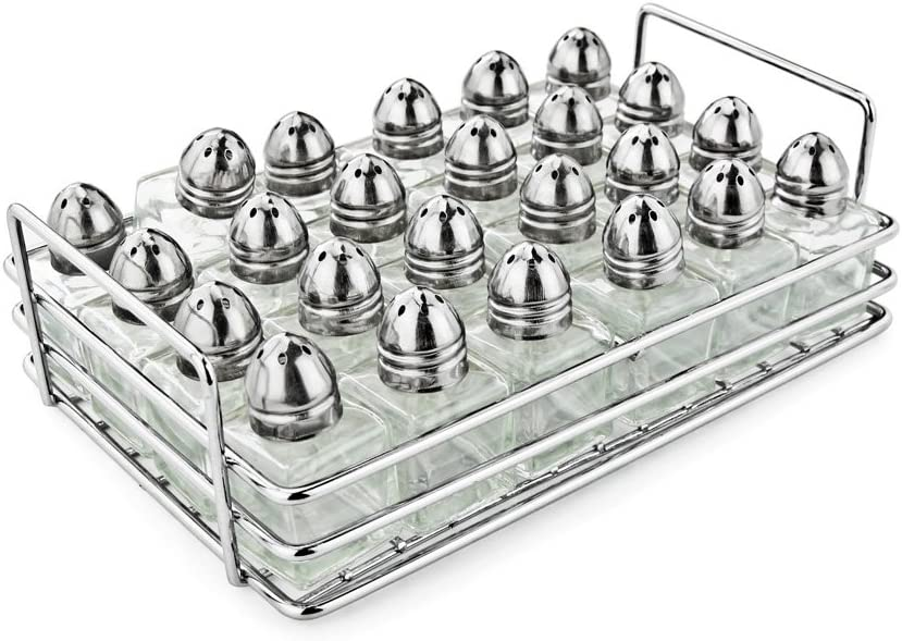 New Star Foodservice 28423 Mini Salt and Pepper Shakers, with Rack, Set of 24