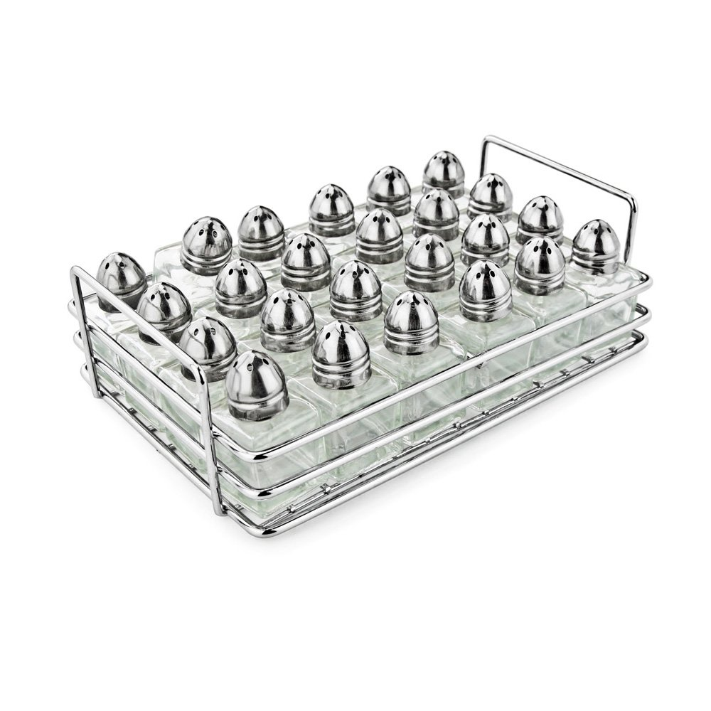 New Star Foodservice 28423 Mini Salt and Pepper Shakers with Rack, Set of 24