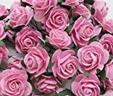 40 pcs Rose 25-30mm Pink Mulberry Paper Flowers handmade craft project cardmaking Floral Valentine