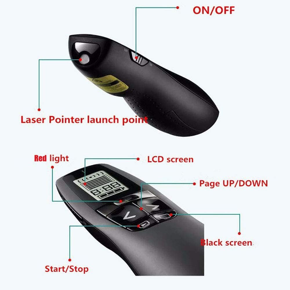2.4GHz PPT PowerPoint Clicker Presentation Pointer with Hyperlink /& Volume Control VicTsing Presentation Clicker Laser Pointer Type C /& USB 2 in 1 Wireless Presenter Remote for Mac