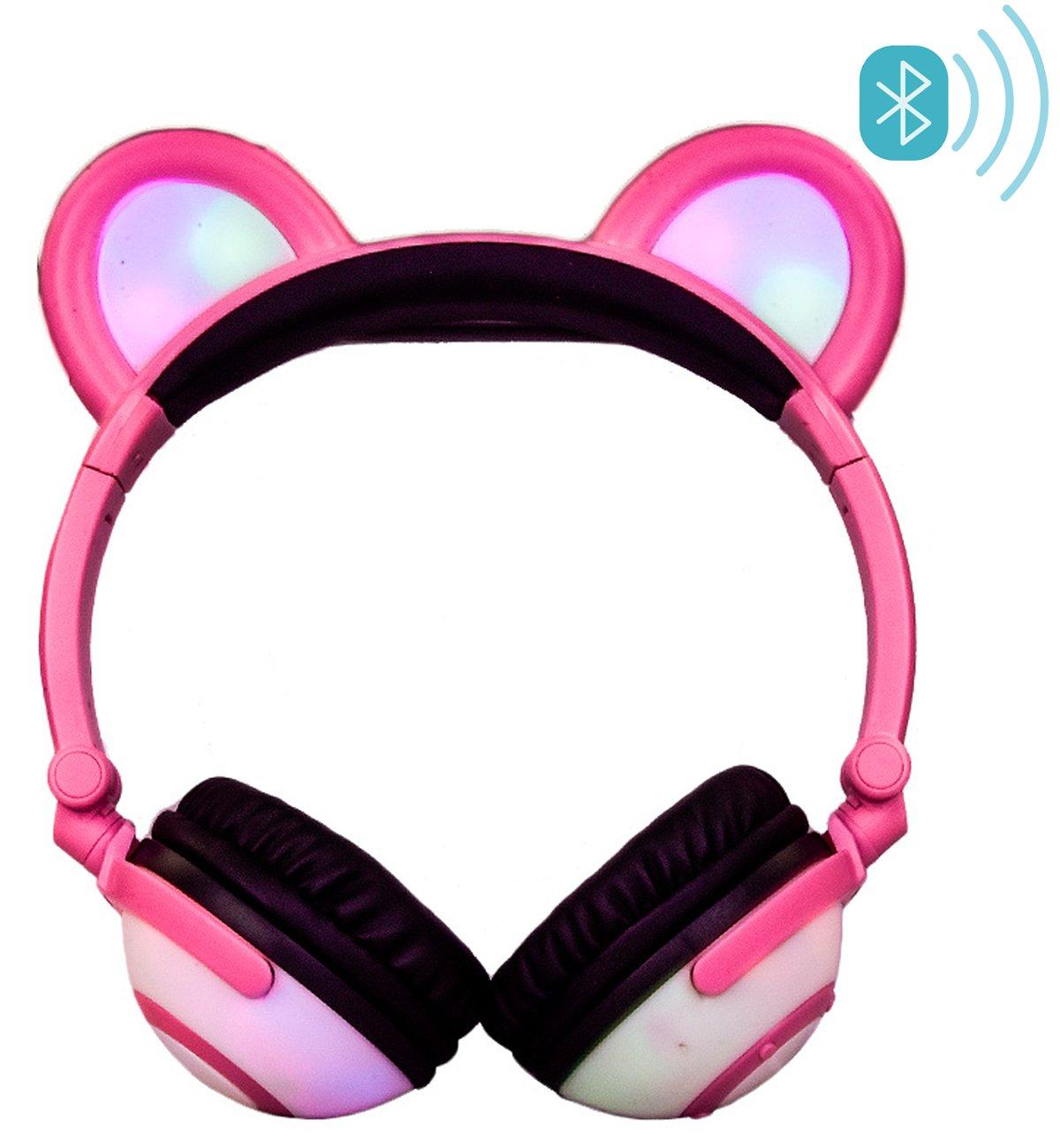 Bluetooth Wireless Headphones, LIMSON Rechargeable Foldable Kids Headset with LED Light Flashing, Anime Bear Ear Headphone BTR109(Black)