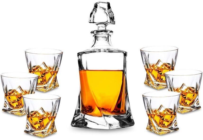 KANARS Twist Juego de Jarra de Whisky, 100% Libre de Plomo Cristalino Resistente Whisky Jarra Set para Scotch, Bourbon, 800ml Jarra y 6 vasos de whiskey, Juego de 7