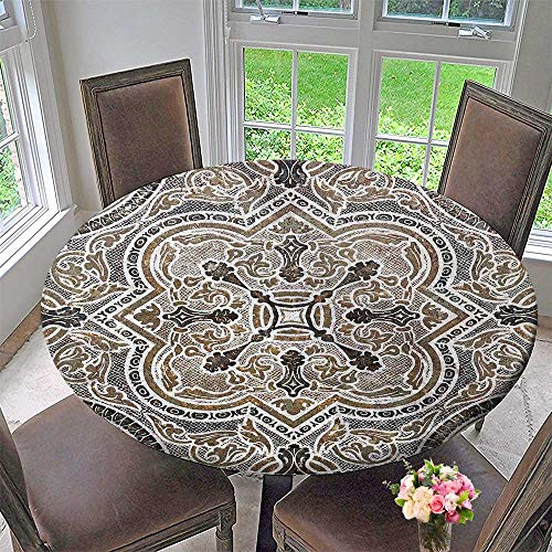 Classic Travertine Tile - Round Polyester Tablecloth Table Cover Flower Ornamental Vintage Tile Classic Travertine Marble Texture for Most Home Decor 40