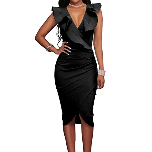 wholesale online low price buy cheap Kaured Good Women Sexy Sleeveless V Neck Pencil Party Dresses ...