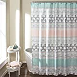 Pink and Turquoise Shower Curtain Lush Decor 16T000122 Elephant Stripe Shower Curtain, 72
