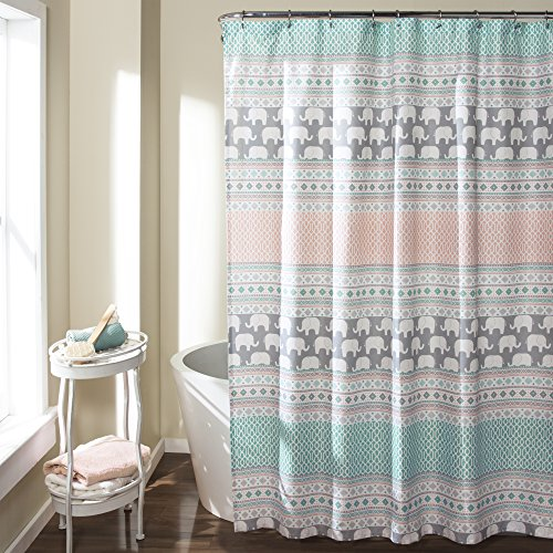 Lush Decor 16T000122 Elephant Stripe Shower Curtain, 72
