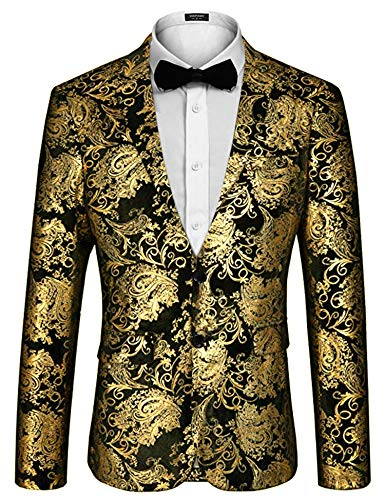 Coofandy Mens Fashion Glitter Floral Print Slim Fit Two Button Blazer Jacket, Golden ,Large
