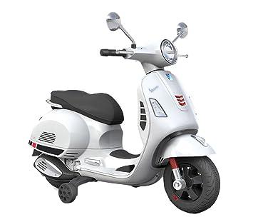 B70592 Moto eléctrica PIAGGIO para niños VESPA GTS con ruedas LED 12V - Blanco: Amazon.es: Juguetes y juegos