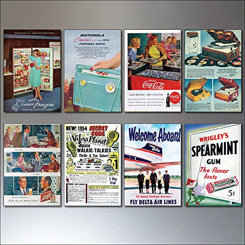 8 Vintage Retro Magazine Advert 1950s reproduction Fridge Magnets -Shabby,Chic,