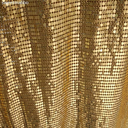 Pukido 45150cm Cheap Gold Silver Nickel Metallic Metal mesh Sequin Fabric for Curtains Sexy Women Evening Dress Tablecloth Swimwear - (Color: Gold, Size: 3mm)