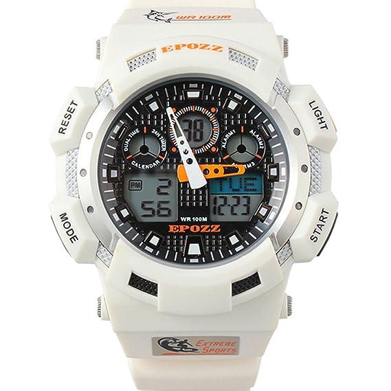 Epozz reloj natación hombres deporte digital pantalla LED luminosa Militar reloj de pulsera resistente al agua