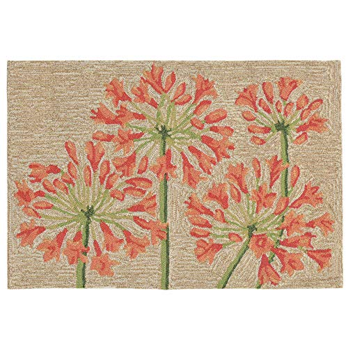 Liora Manne RVL23227317 2273/17 Apricot Ravella Floral Desert Lily Indoor/Outdoor Rug, 2' X 3', Beige and Red (Pad Area Rug Lily)