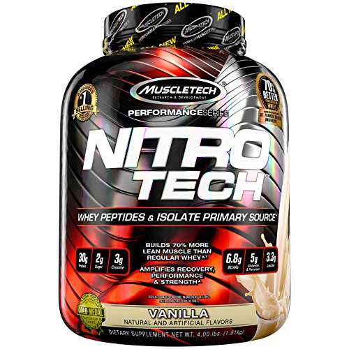 MuscleTech NitroTech Protein Powder Plus Muscle Builder, 100% Whey Protein with Whey Isolate, Vanilla, 40 Servings (4lbs)